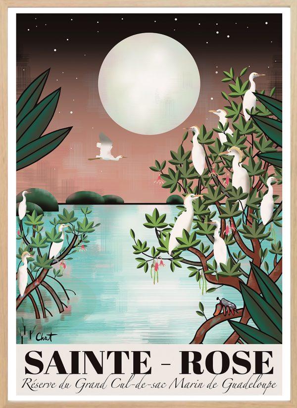 affiche ste-rose-cadre bois